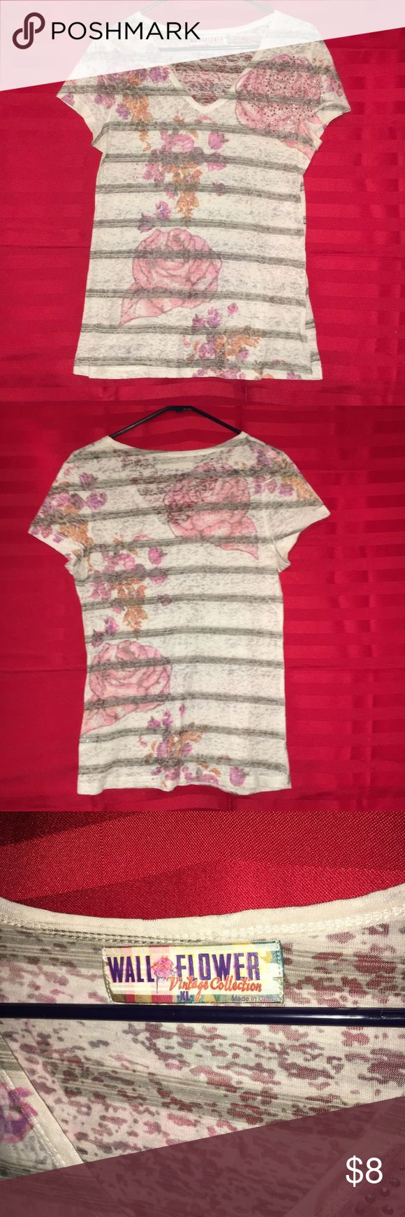 Wallflower- burnout tee size Large Excellent condition Riveted on top right Burnout tee with flower design over white/gray stripe. Very soft and comfortable. Wallflower Tops Tees - Short Sleeve