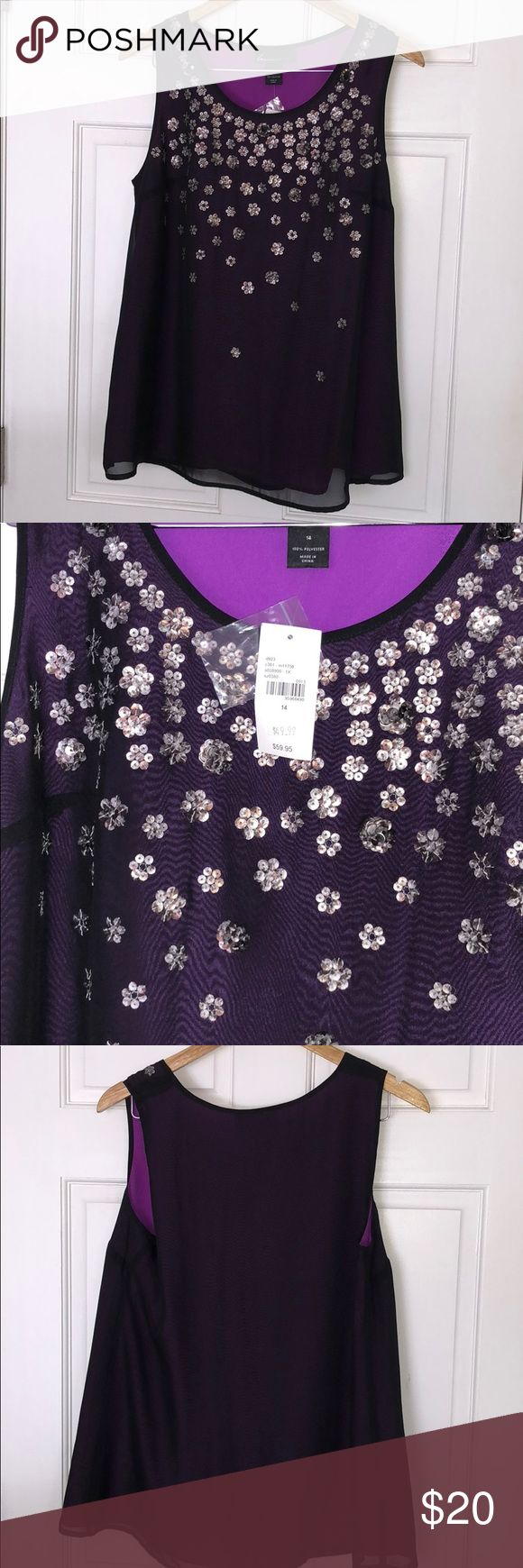 NWT Lane Bryant Sequin Flower Cami Top Size 14 NWT top from Lane Bryant, Size 14 in a beautiful shade of purple! Sequins have a silver sheen and are in a flower pattern. Please feel free to ask any questions and check out my other listings! Lane Bryant Tops Camisoles