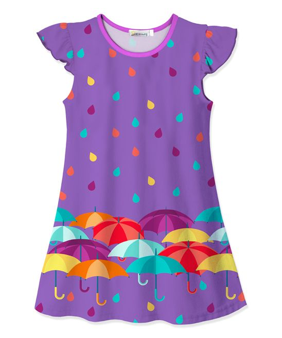 Purple Umbrella & Raindrop Swing Dress - Toddler & Girls