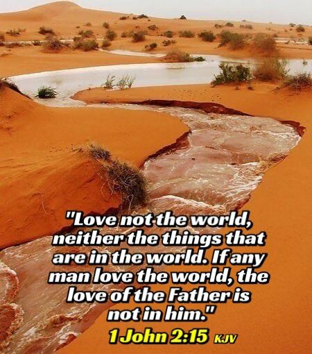 """1 John 2:15-17 KJV """"Love not the world, neither the things that are in the world. If any man love the world, the love of the Father is not in him. For all that is in the world, the lust of the flesh, and the lust of the eyes, and the pride of life, is not of the Father, but is of the world. And the world passeth away, and the lust thereof: but he that doeth the will of God abideth for ever."""""""