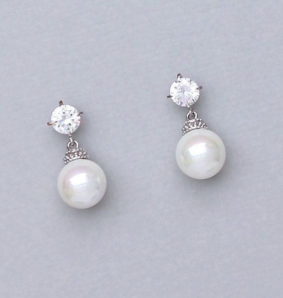 Perlen Ohrringe Elfenbein Perlen Braut von JamBridalAccessories