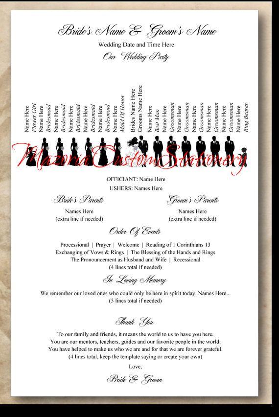 template single sided silhouette wedding program custom made with