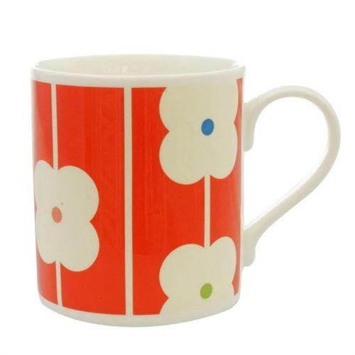 Mug by Orla Kiely bone china flower abacus red