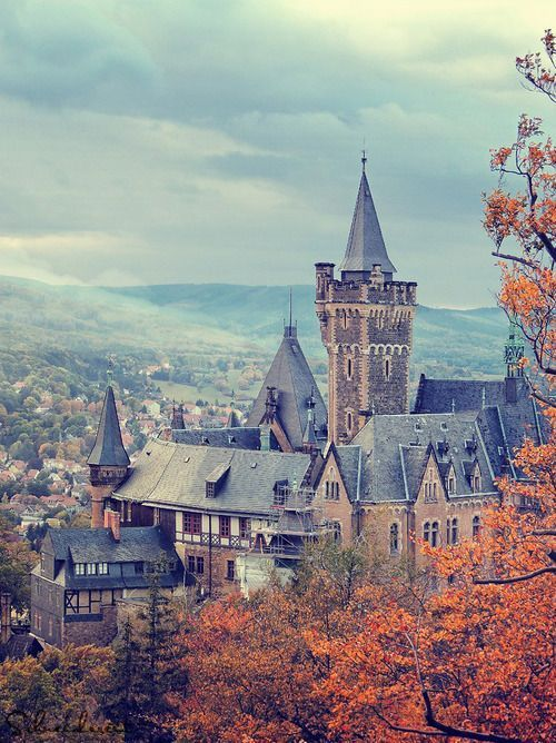 Wernigerode Castle ~ Saxon-Anhalt ~ Germany ~ It is a castle located in the Harz mountains above the town of Wernigerode. The present-day building, finished in the late 19th century, is similar in style to Neuschwanstein Castle, though its foundations are much older. The castle is open to the public and one of the most frequently visited in Saxony-Anhalt.