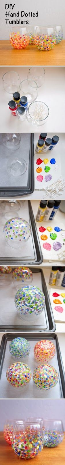 Easy DIY Crafts: Hand dotted tumblers