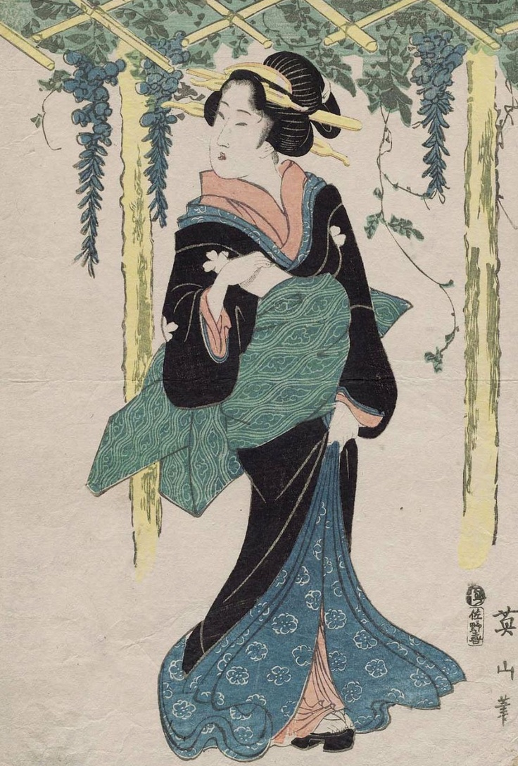 woman under wisteria trellis / kikugawa eizan / ukiyo-e woodblock print / early 1800's