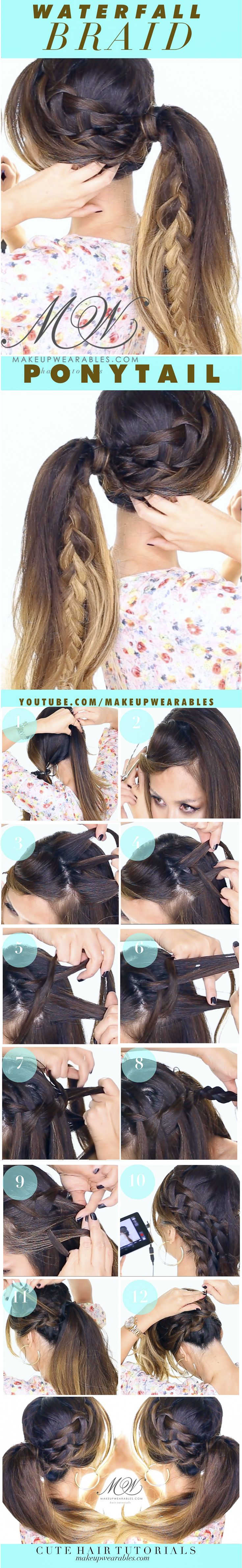 Waterfall Braid into a Perky Ponytail   Cute Fall Hairstyles