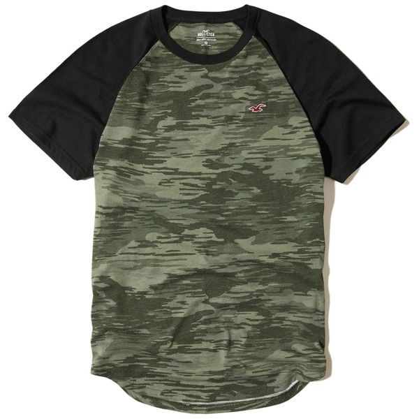 Hollister Must-Have Camo Colorblock Raglan T-Shirt (115325 PYG) ❤ liked on Polyvore featuring men's fashion, men's clothing, men's shirts, men's t-shirts, green camo, men's curved hem t shirt, mens slim fit t shirts, mens camouflage shirts, mens raglan shirts and mens camo shirt