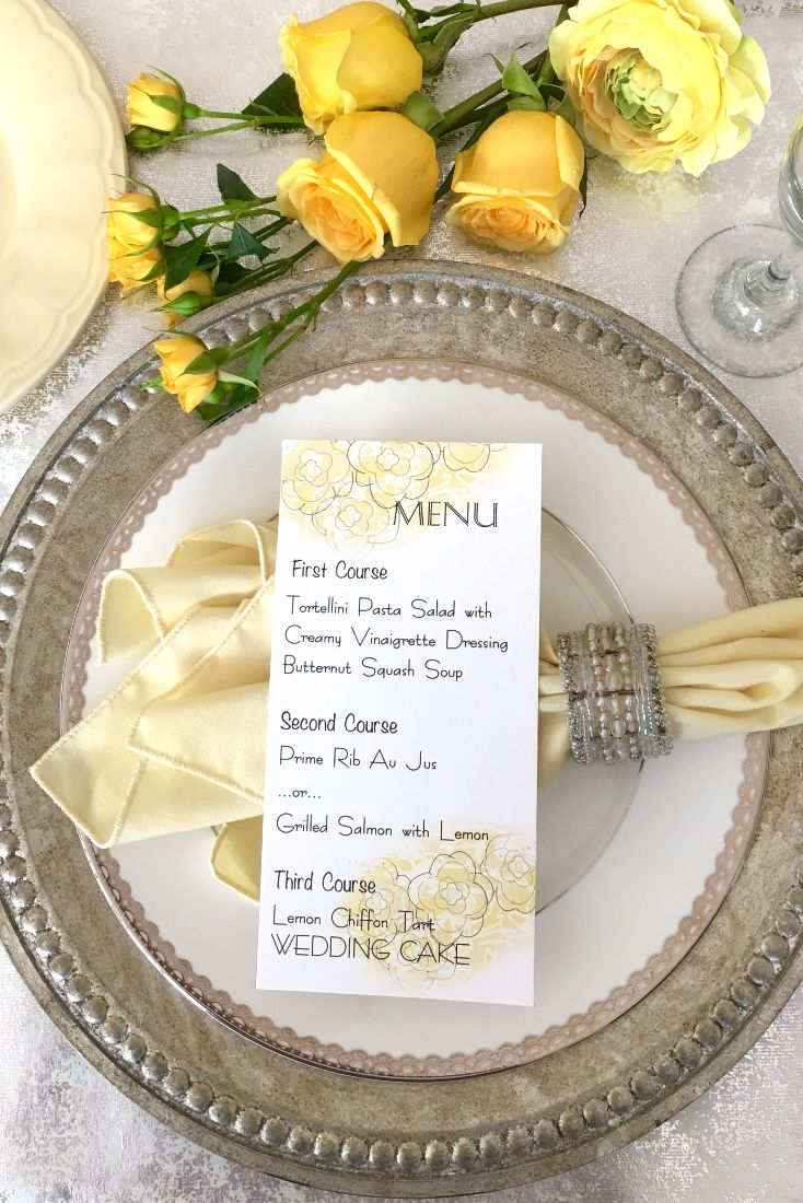 Faded Blooms Menu Card | Mysty and Bella Designs