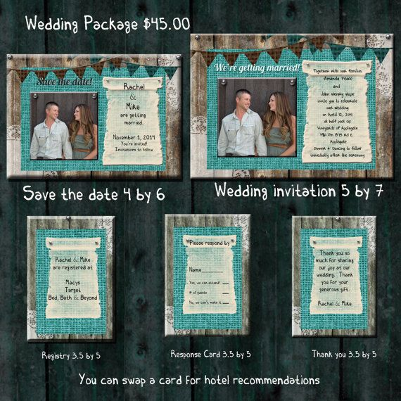 Teal Burlap Wedding Invitation Package Save The By Oldowlpress