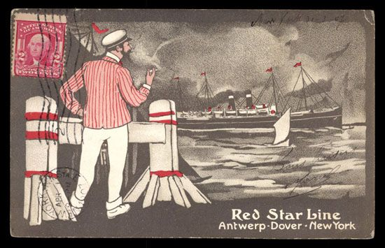 RED STAR LINE, Anwerp-Dover-New York. Very little corner wear. Very small crease right upper corner. Postally used. Undivided back.