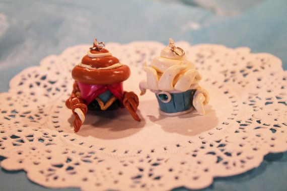 Handmade Frozen inspired character cupcake charms of Elsa and Anna are now for sale in my Etsy shop! : )