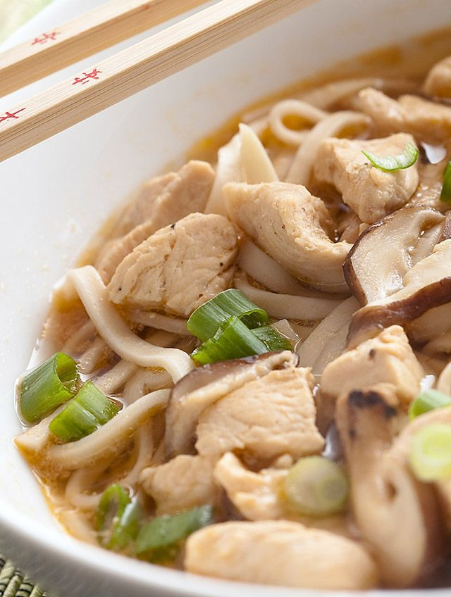 An Asian inspired twist on Chicken noodle soup with chicken, shitake mushrooms and udon noodles.