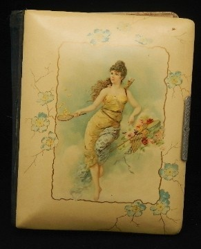 Antique Late 1800's Victorian Celluloid Lady Catching Stars Flowers Photo Album