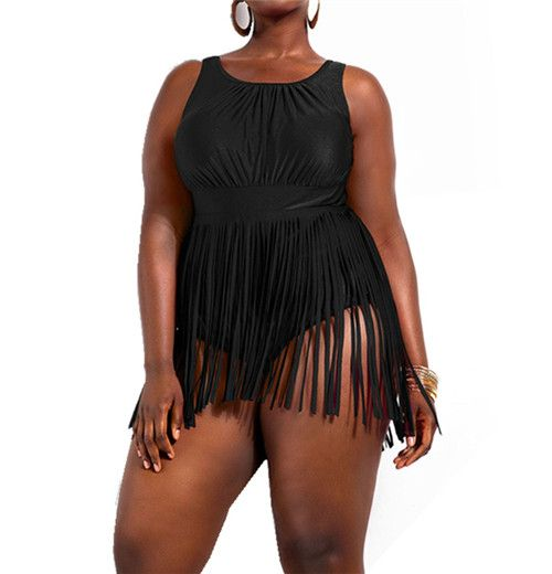 Plus Size One Piece Set Bathing Suit Swimwear Beach Wear Fringes High Waist Swimsuit
