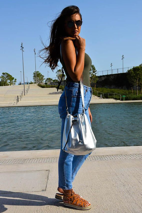 Shopping Bag, Leather Bucket Bag, Leather Shoulder Bag, Tote Bag, Made from 100% Cowleather In Greece by Christina Christi Jewels.