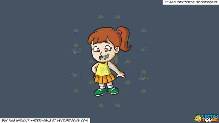 A Happy Girl With Braces On A Solid Metal Grey 465362 Background:   A girl with ponytailed brown hair wearing a yellow sleeveless blouse orange yellow skirt white socks and green shoes smiles to show her teeth with braces  #dental #dentist #health #teeth #clipart #vectortoons #illustration