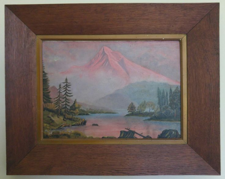 signed CG 1922 oil on board with oak frame