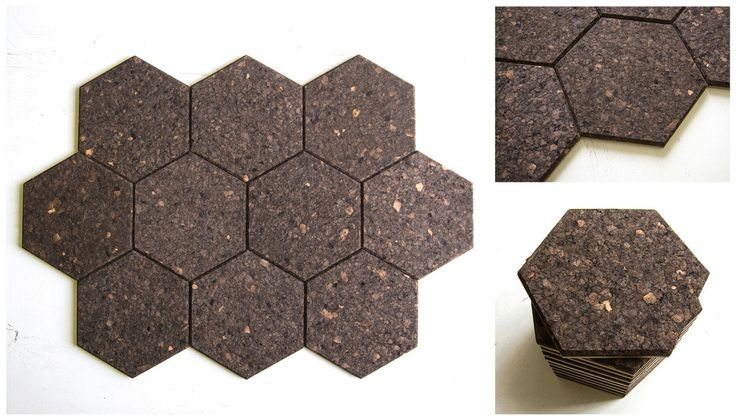 Hexagon wall tiles, 6mm cork adhered to a 3mm backing board