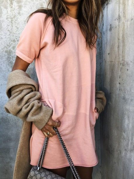 Dress: tumblr pink mini shirt cardigan grey cardigan