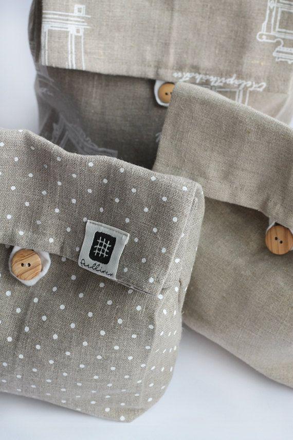 Linen lunch bag linen lunch bag for women adult lunch by feellinen