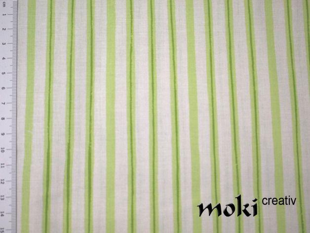 Stoff Streifen - Streifenstoff hellgrün kiwi weiß Stoff gestreift - ein Designerstück von moki-creativ bei DaWanda