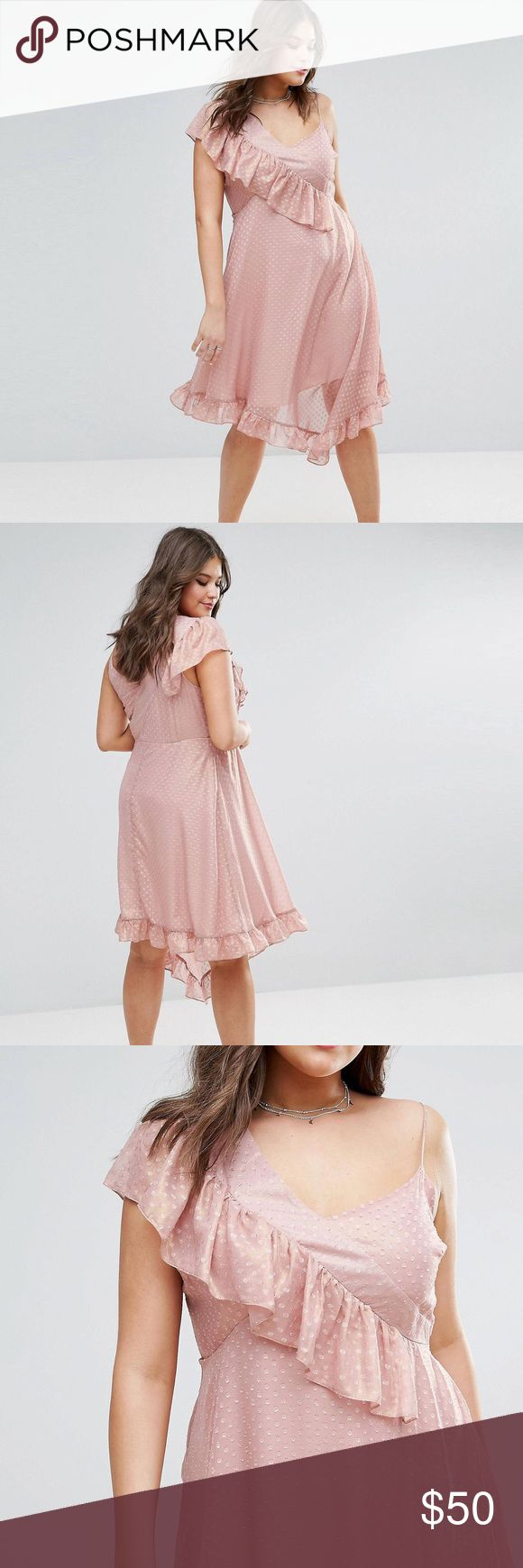 """ASOS Curve Asymmetric Midi Tea Dress Plus-size dress by ASOS CURVE Blush Color Lined woven fabric Textured spot finish Asymmetric neck Ruffle trims Dipped hem Regular fit - true to size Machine wash 100% Polyester Our model wears a UK 18/EU 46/US 14 and is 180cm/5'11"""" tall Midi dress length between: 115-125cm ASOS Curve Dresses Midi"""