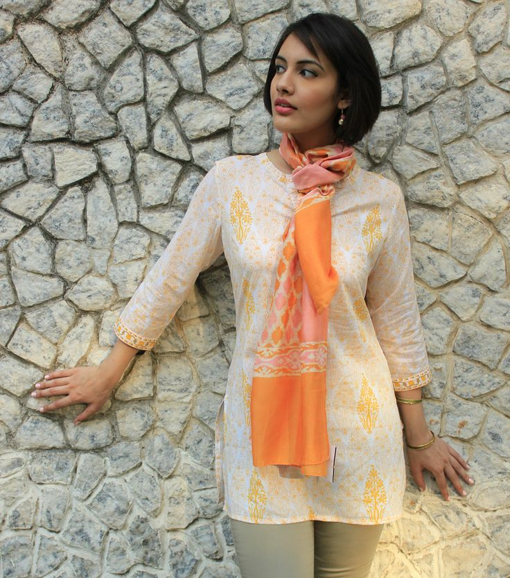 #Summertrends Short kurta with floral prints paired with a printed scarf in bright colors #Brightsummers