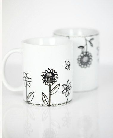 Hand Painted Ceramic Mugs White Porcelain Coffee Mugs Tea Mugs Black Minimalist Abstract Modern Flower Kitchen Decor - Set of 2 Ceramic Mugs. $45.00, via Etsy.