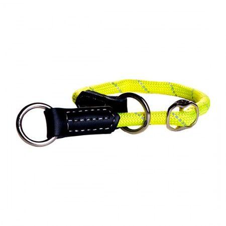 Rogz Rope Web Half-Check collar 40cm - 45cm / Dayglo - Rogz dog collar Rogz Dog Collar Large - globaldogshop.com