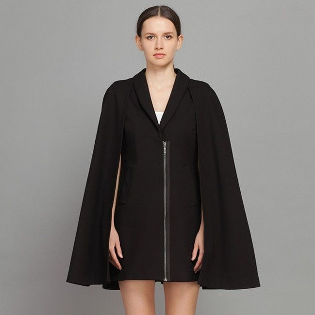Unique Cloak Tailored Collar Loose Winter Coats Black