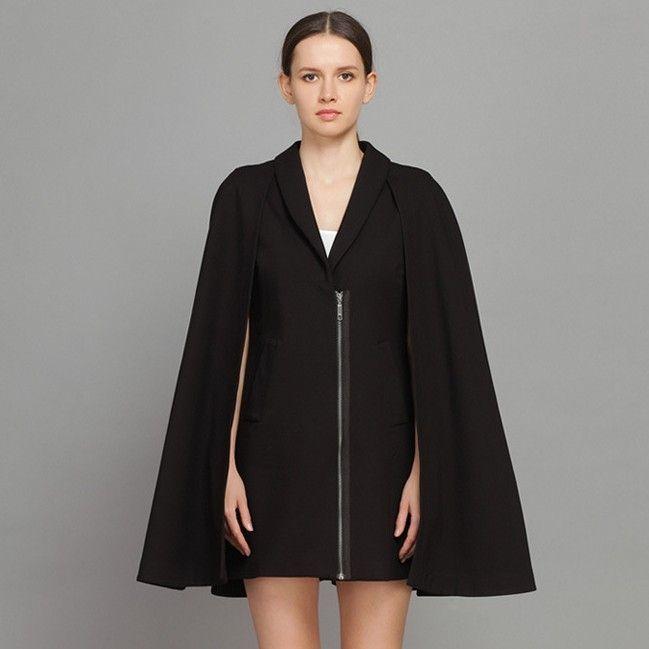 Unique Cloak Tailored Collar Loose Winter Coats Black