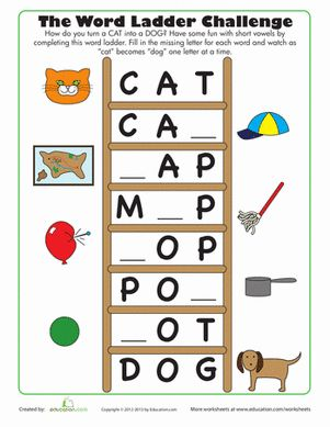 First Grade Phonics Worksheets: Word Ladder Challenge Worksheet