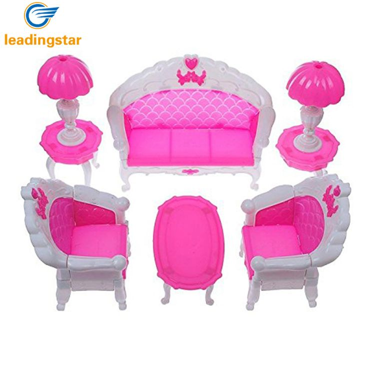 6Pcs/ Pack Dollhouse Furniture Living Room Parlour Sofa Chair Set Plastic for Barbie Acessorios House Furniture for Dolls