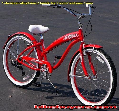 Aluminum Frame Fito Modena Alloy Shimano 7 Speed Women S Red