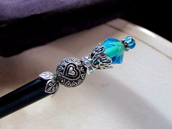 WHO ARE YOU Wonderland Blue Victorian Beaded Wood Hair Stick or Shawl Pin