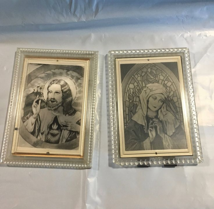 Vintage religious pictures with moving eyes and halo by MiddleCoveAntiques on Etsy
