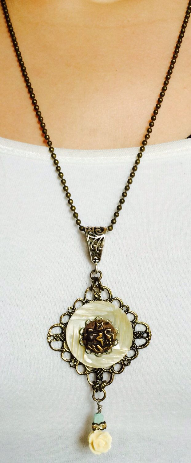 Vintage, Button, Necklace, Floral, Filigree Mother Of Pearl Button, With  Cream