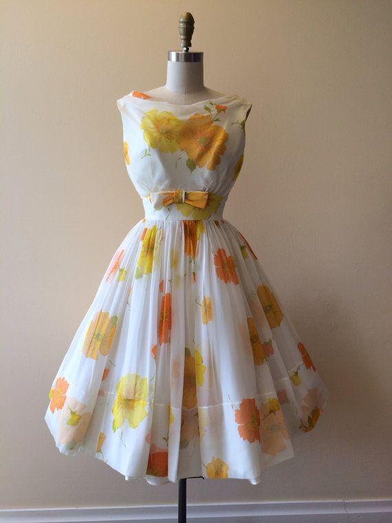 1950s Dress - Vintage 50s Dress - Citrus White Silk Chiffon Roses Wedding Party Prom Dress XS - Sungoddess