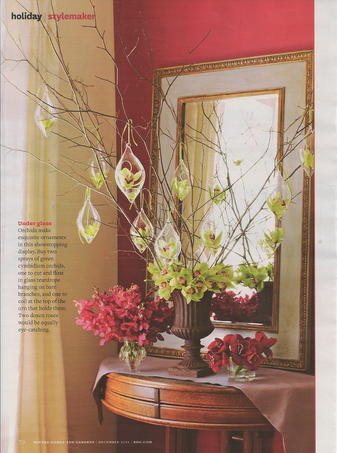 Better Homes and Gardens December 2011 Holiday Floral Feature by Amy Panos / Producer -  Ariella Chezar /   Photographer - Kate Mathis / Stylist - Ed Gallagher