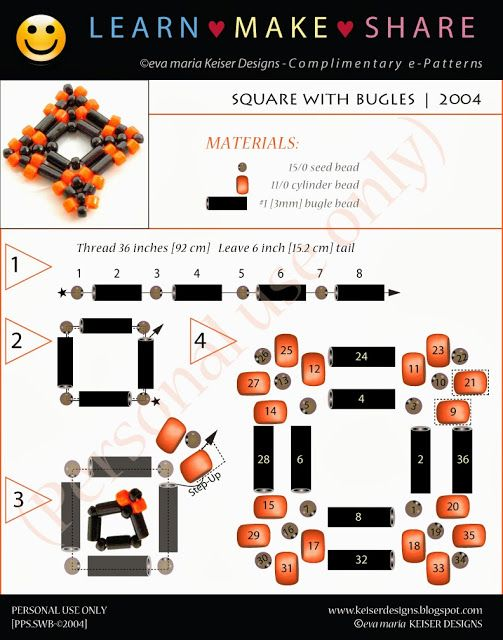 Eva Maria Keiser Designs: Learn-Make-Share: Square With Bugles   2004 #Seed #Bead #Tutorials
