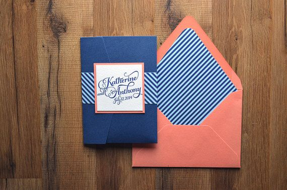 Nautical Inspired Striped Wedding Invitation by FlairNecessities, $150.00