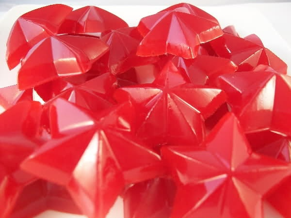 *Homemade Gummis - **1 package of jello (any flavor, but the small 3 oz package) ** 7 envelopes of unflavored gelatin (these come in small envelopes, usually 4 per package. Look for it in the jello aisle) **1/2 cup water