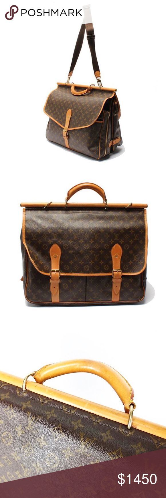 Authentic Vuitton Monogram Travel Hunting Bag Authentic Louis Vuitton Monogram Travel Hunting Bag Date Code: SP3077 Made in France Monogram canvas, natural cowhide trim -Golden brass pieces -Zip and buckle closure -Two compartments, one on each side -Rounded leather handle - Removable adjustable shoulder strap -Removable ID holder -Cabin size Louis Vuitton Bags Travel Bags