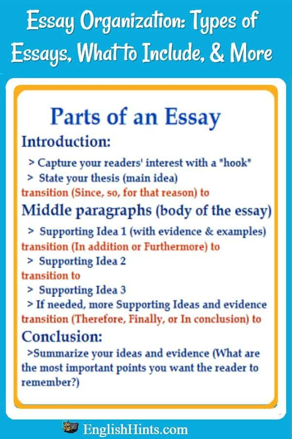 Literature Essay Sample  Graduating From High School Essay also Health Essays Essay Organization  The Best Of Englishhints  English  Structure Of A Dissertation