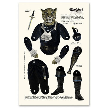 """Pirate Leopard Paper Toy 13x19""""  by Ron Jasin and Mary Yates: Paper Dolls Art, Papertoy, Paper Dolls Crafts, Pirates Leopards, Toys 13X19, Paperdol 2, Paper Toys, Jointed Dolls, Leopards Paper"""