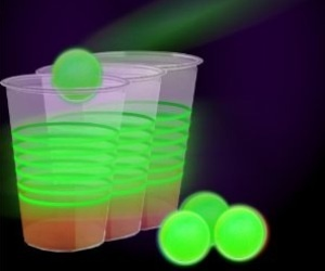 This Glow In The Dark Beer Pong Party Pack Comes With Balls And Cups You