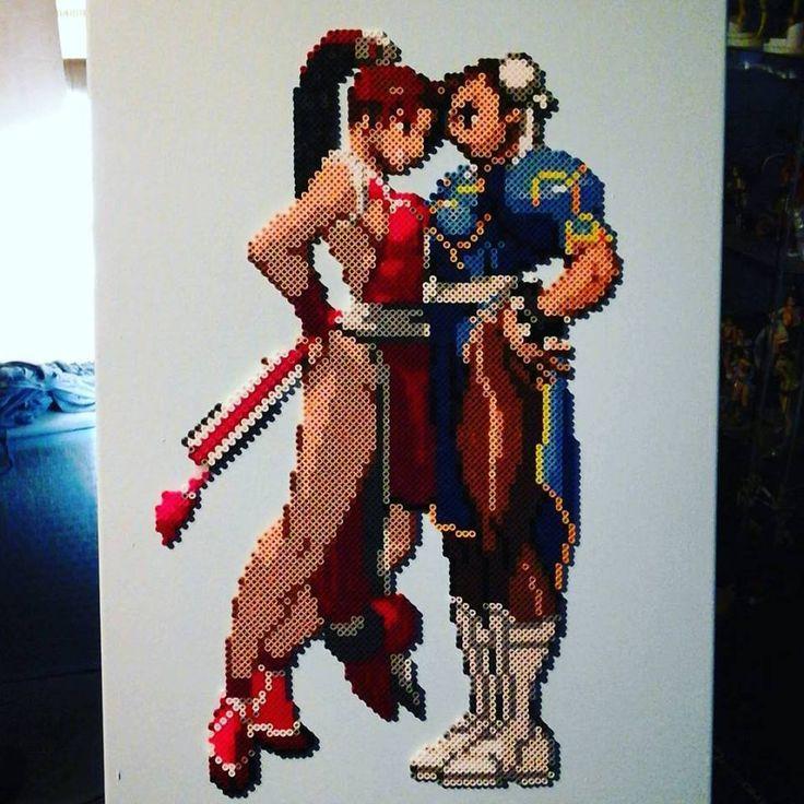 Mai vs.Chun-Li - Street Fighter perler bead on canvas by Sulley45635