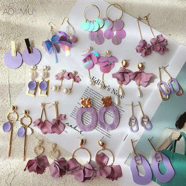 Boucles d/'Oreilles PAPILLONS et FLEURS couleur Argent Longues et Pendantes