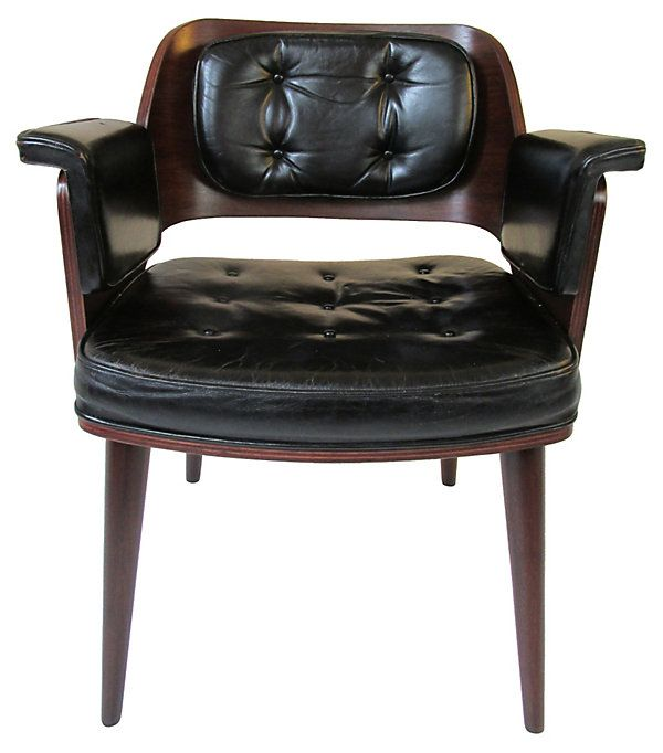 1960s   Tufted Black Leather Chair | Mix Masters | One Kings Lane